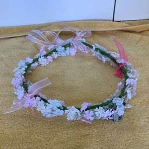 Flower and butterfly hair wreath